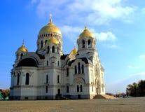 Vue de la cathédrale avec les dômes d'or Images stock