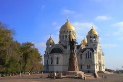 Vue de la cathédrale avec les dômes d'or Image stock