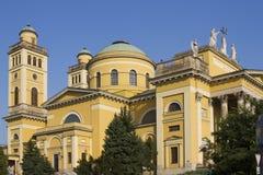 Vue de la cathédrale dans Eger effectué à partir du grand dos Image libre de droits