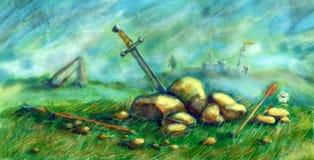 Vue de la colline après la bataille illustration de vecteur