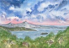 Vue de la colline vers la mer et les îles photographie stock