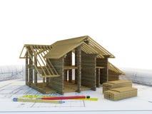 Vue de la construction à la maison neuve Image libre de droits