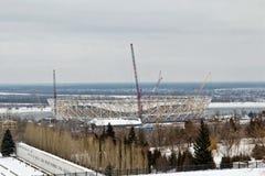 Vue de la construction d'un nouveau stade de football pour le monde Photographie stock libre de droits