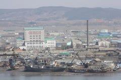 Vue de la Corée du Nord de Dandong Photo stock