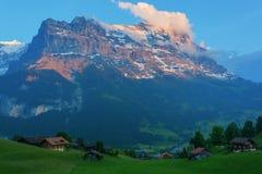Vue de la crête d'Eiger de la vallée de Grindelwald, Suisse Photographie stock libre de droits