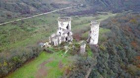 Vue de la vue d'oeil du ` s d'oiseau des ruines du château de Chervonohrad l'ukraine banque de vidéos