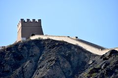 Vue de la Grande Muraille surplombante chez Jiayuguan, Chine image stock