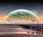 Vue de la lune d'une belle plage illustration libre de droits