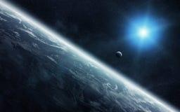 Vue de la lune près de la terre de planète dans l'espace illustration stock