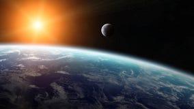 Vue de la lune près de la terre de planète dans l'espace illustration libre de droits