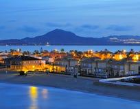Vue de La Manga Del Mar Menor la nuit Photographie stock libre de droits