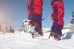Vue de la marche sur la neige avec des chaussures de neige et des transitoires de chaussure en hiver image libre de droits