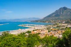Vue de la marina et des terminus industriels Imerese Photo libre de droits