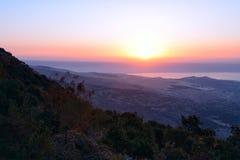 Vue de la mer du lac galilee Kineret de la montagne photographie stock
