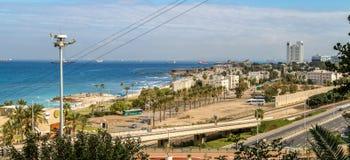 Vue de la mer Méditerranée et de Haïfa, Israël Image libre de droits