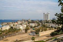 Vue de la mer Méditerranée et de Haïfa, Israël Image stock