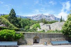 Vue de la montagne d'AI-Pétri du palais de Vorontsov Images libres de droits
