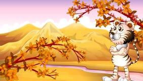 Vue de la montagne pendant l'automne illustration de vecteur