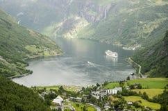 Vue de la Norvège - du fjord de Geiranger Photo libre de droits