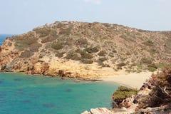 Vue de la Palm Beach renversante de Vai avec le bleu, l'eau de turquoise sur Crète images libres de droits