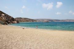 Vue de la Palm Beach renversante de Vai avec le bleu, l'eau de turquoise sur Crète photos libres de droits