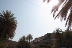 Vue de la Palm Beach renversante de Vai avec le bleu, l'eau de turquoise sur Crète image stock