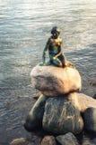 Vue de la petite statue de sirène à Copenhague Danemark Photos libres de droits