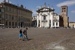 Vue de la place de Sordello dans Mantua, Italie photos libres de droits