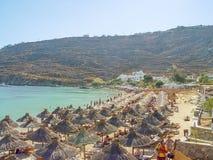 Vue de la plage de paradis dans Mykonos Photo libre de droits