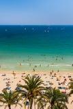 Vue de la plage, des palmiers, de la mer et des yachts Photographie stock libre de droits