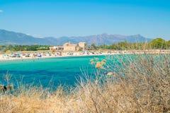 Vue de la plage de Nora, Sardaigne images libres de droits