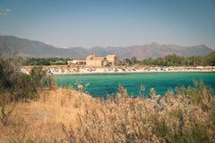 Vue de la plage de Nora, Sardaigne images stock