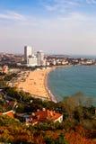 Vue de la plage se baignante N1 de Xiao Yu Shan Park, automne, Qingdao image libre de droits