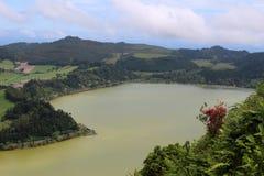Vue de la plate-forme d'observation au lac Furnas et des azalées solitaires de buisson sur la pente Photo stock