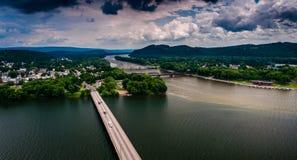 Vue de la rivière Susquehanna et de la ville du Northumberland, PA Images libres de droits