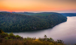 Vue de la rivière Susquehanna au coucher du soleil, du sommet dedans ainsi Images stock