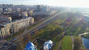 Vue de la route de Moscou, vidéo aérienne de matin de novembre St Petersburg banque de vidéos