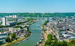 Vue de la Seine à Rouen, France photographie stock libre de droits