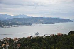 Vue de La Spezia et du Golfe des poètes image libre de droits