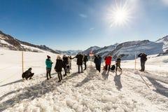 Vue de la station de sports d'hiver Jungfrau Wengen en Suisse Image libre de droits