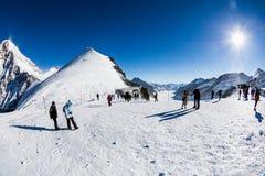 Vue de la station de sports d'hiver Jungfrau Wengen en Suisse Images libres de droits