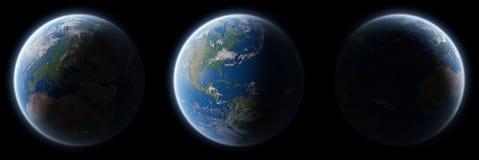 Vue de la terre bleue de planète dans l'eleme de rendu de la collection 3D de l'espace illustration stock