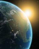 Vue de la terre de l'espace extra-atmosphérique illustration de vecteur