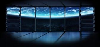 Vue de la terre de planète d'un renderi énorme de la fenêtre 3D de vaisseau spatial Images stock