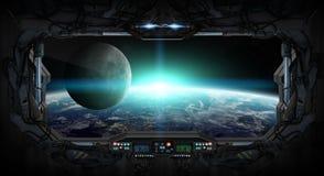 Vue de la terre de planète de l'intérieur d'une station spatiale illustration de vecteur