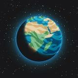 Vue de la terre de planète avec le côté en noir partiellement évident de l'espace Sphère bleue rougeoyante avec des océans, des c illustration libre de droits