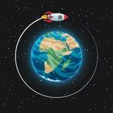 Vue de la terre de planète de l'espace Sphère bleue rougeoyante avec des océans, des continents et des nuages dans l'atmosphère V illustration de vecteur