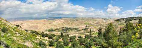 Vue de la terre promise comme vu du bâti Nebo en Jordanie photographie stock libre de droits