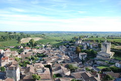 Vue de la tour d'horloge du saint-Émilion Photo stock