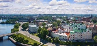 Vue de la tour d'Olaf la vieille ville de Vyborg Image stock